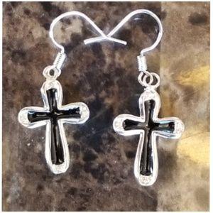 """Sterling Silver Cross hook Earrings 1.5"""" long"""